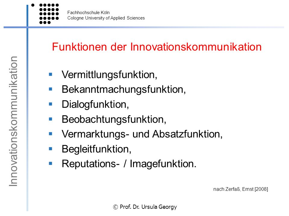 Funktionen der Innovationskommunikation