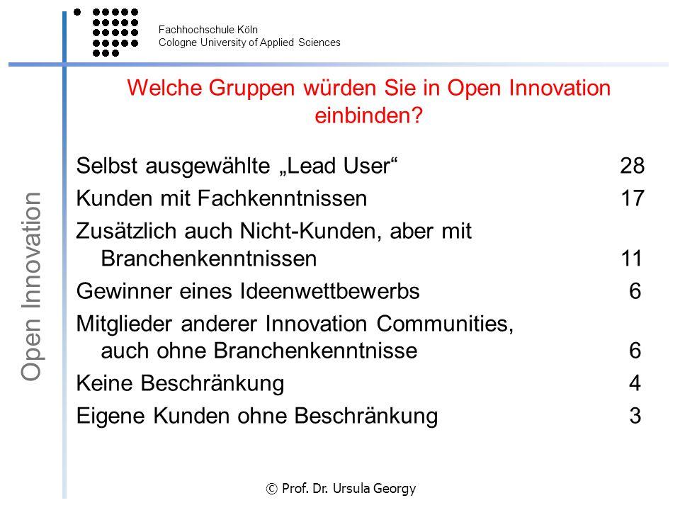 Welche Gruppen würden Sie in Open Innovation einbinden