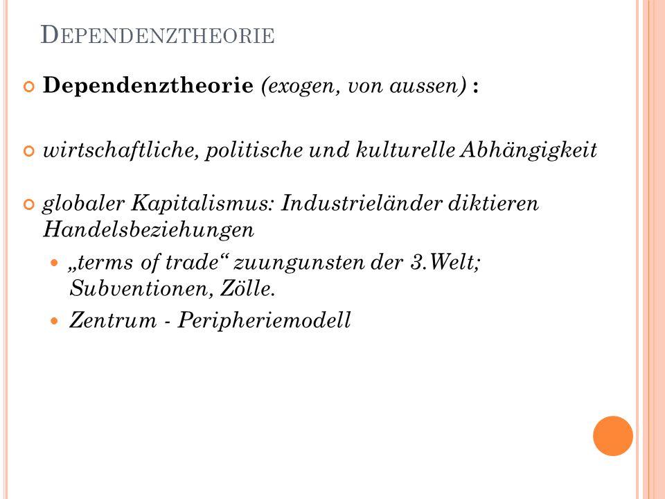 Dependenztheorie Dependenztheorie (exogen, von aussen) :