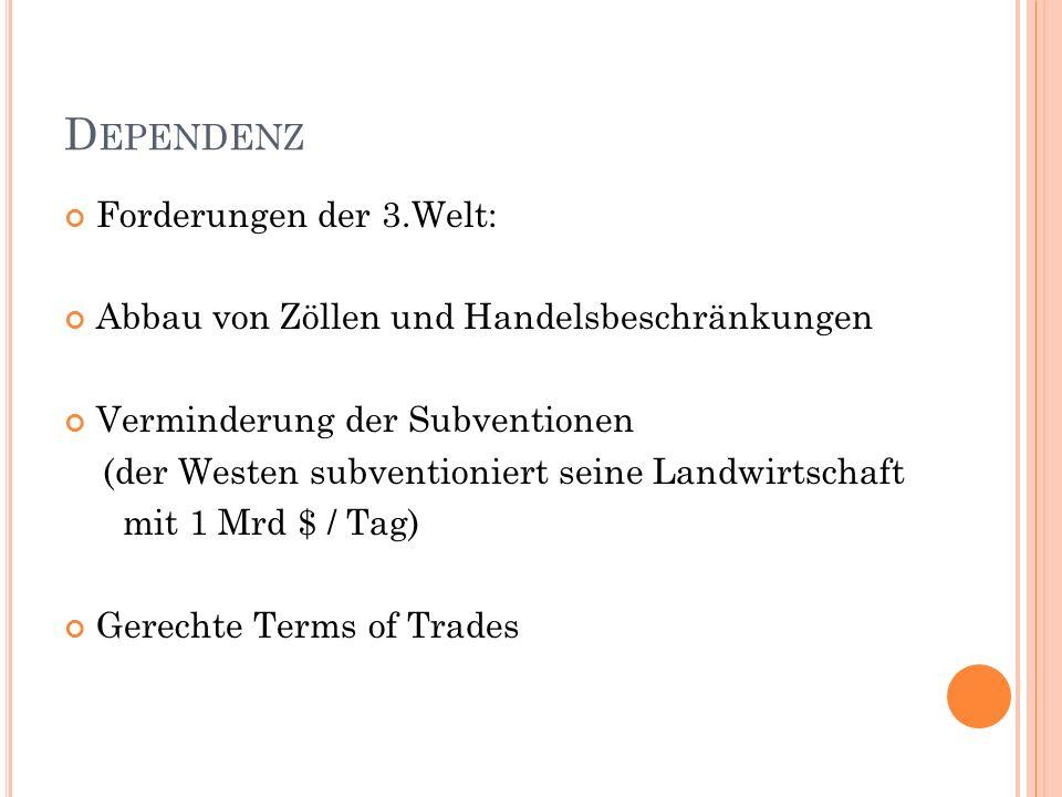 Dependenz Forderungen der 3.Welt: