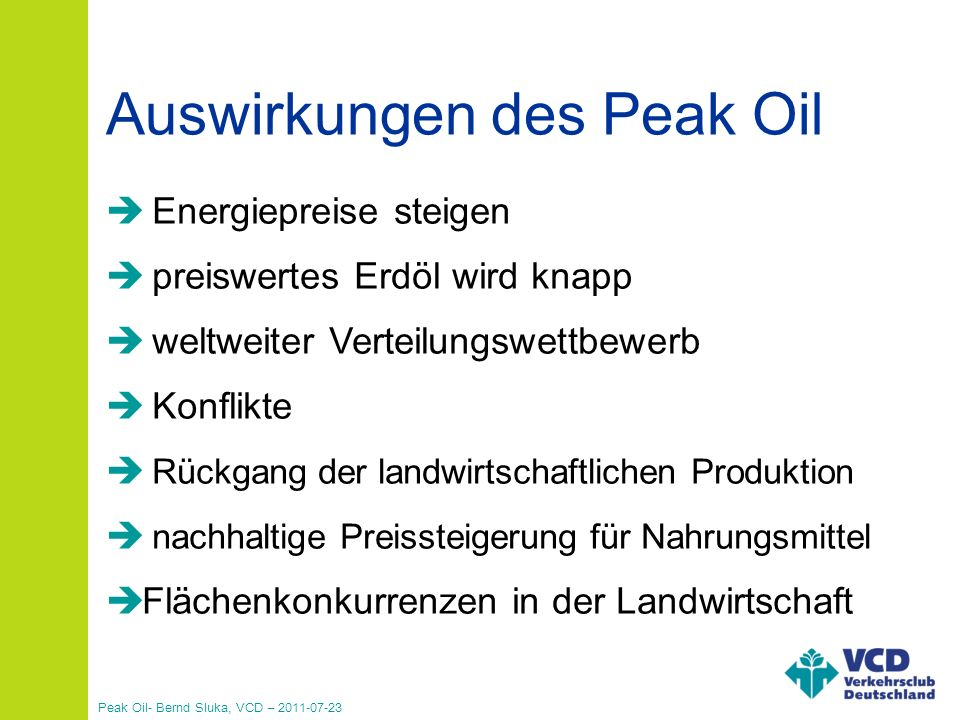 Auswirkungen des Peak Oil