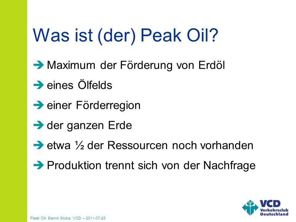 Was ist (der) Peak Oil Maximum der Förderung von Erdöl eines Ölfelds