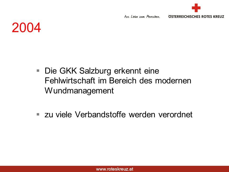 2004 Die GKK Salzburg erkennt eine Fehlwirtschaft im Bereich des modernen Wundmanagement.