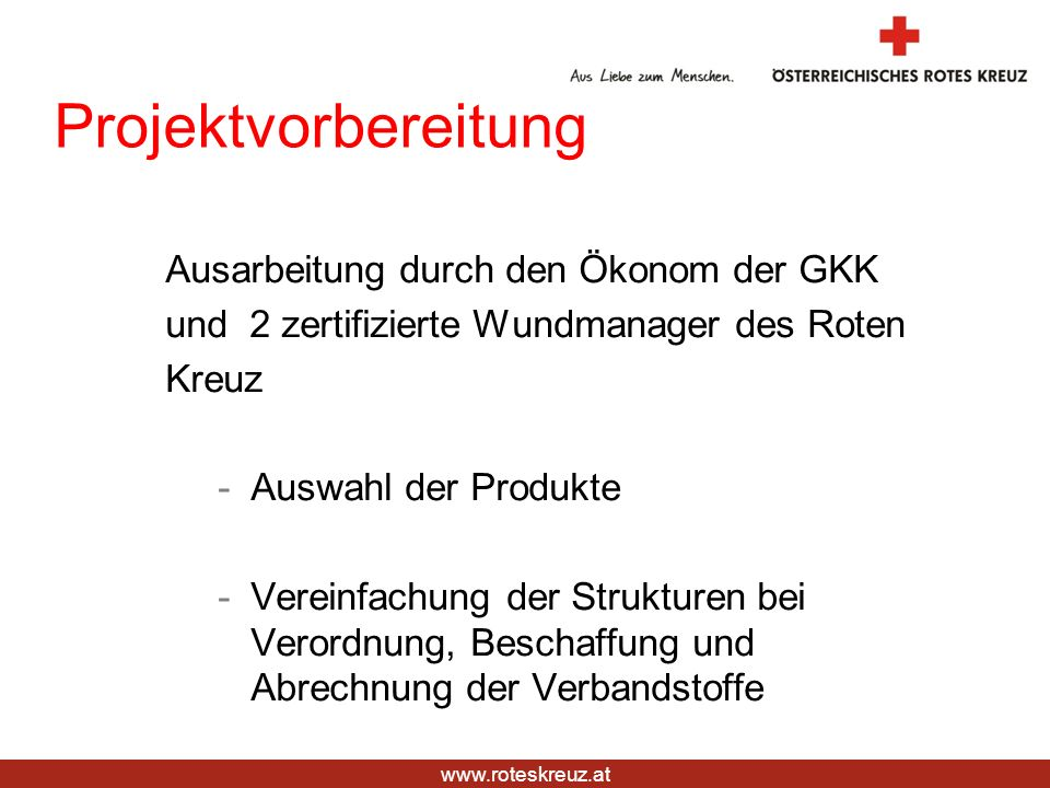 Projektvorbereitung Ausarbeitung durch den Ökonom der GKK
