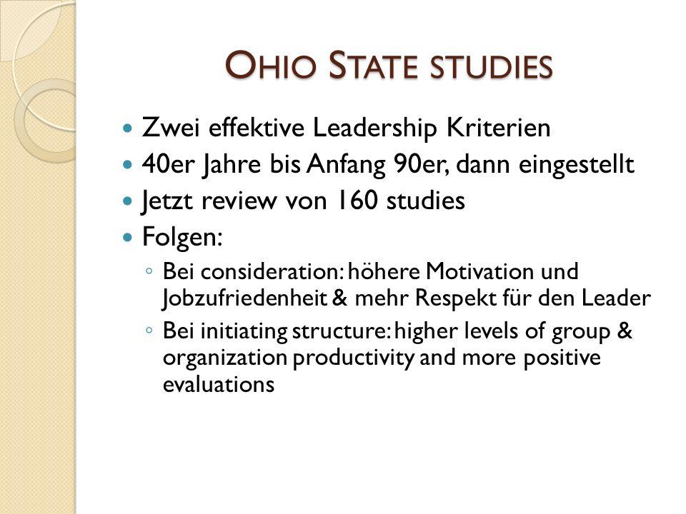 Ohio State studies Zwei effektive Leadership Kriterien