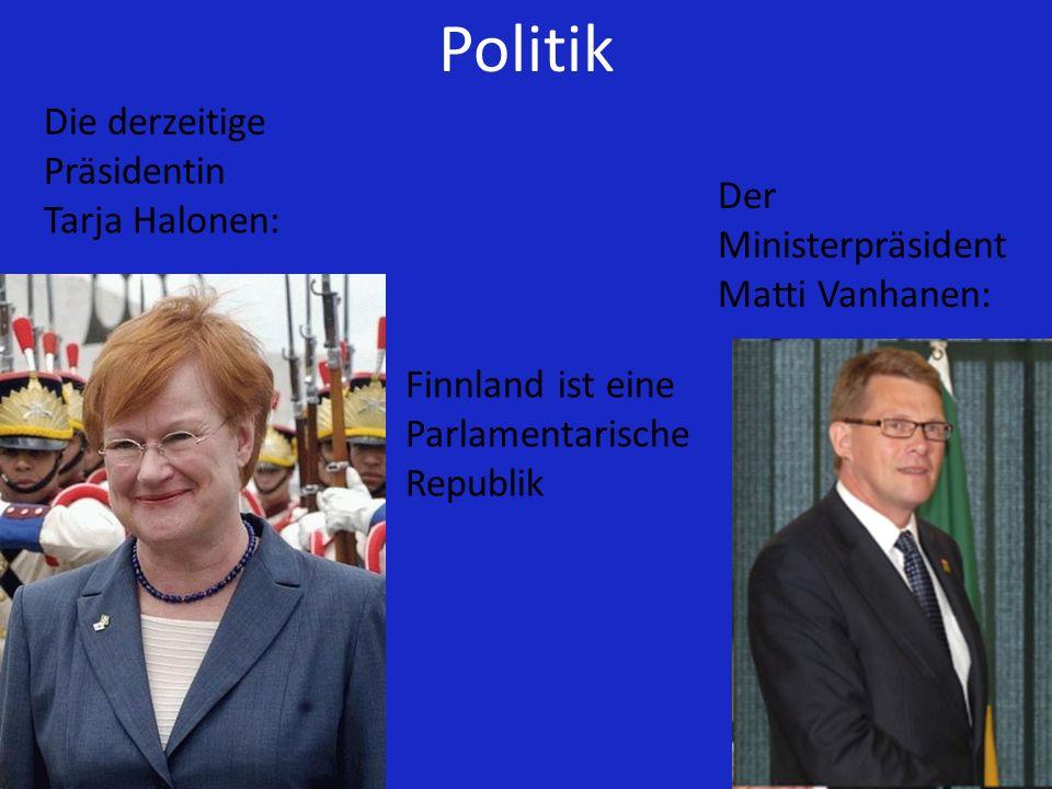 Politik Die derzeitige Präsidentin Tarja Halonen: