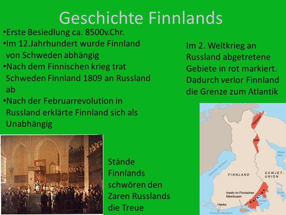 Geschichte Finnlands Erste Besiedlung ca. 8500v.Chr.