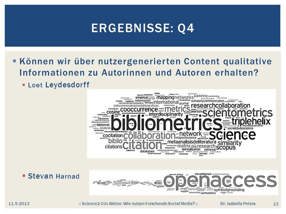 Ergebnisse: Q4 Können wir über nutzergenerierten Content qualitative Informationen zu Autorinnen und Autoren erhalten