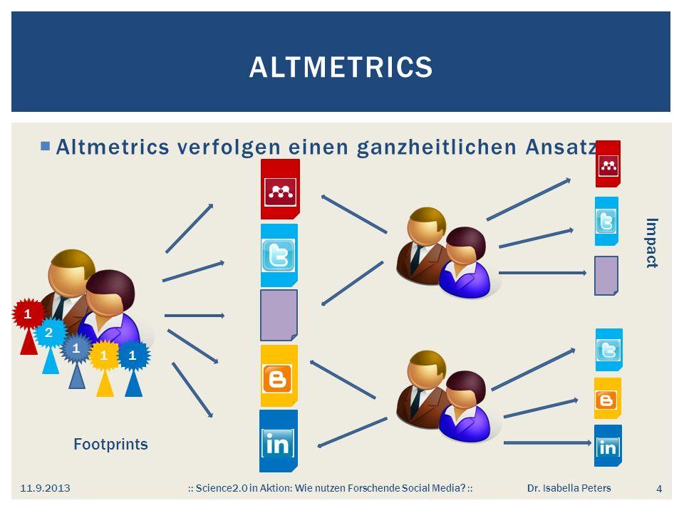 Altmetrics Altmetrics verfolgen einen ganzheitlichen Ansatz Impact