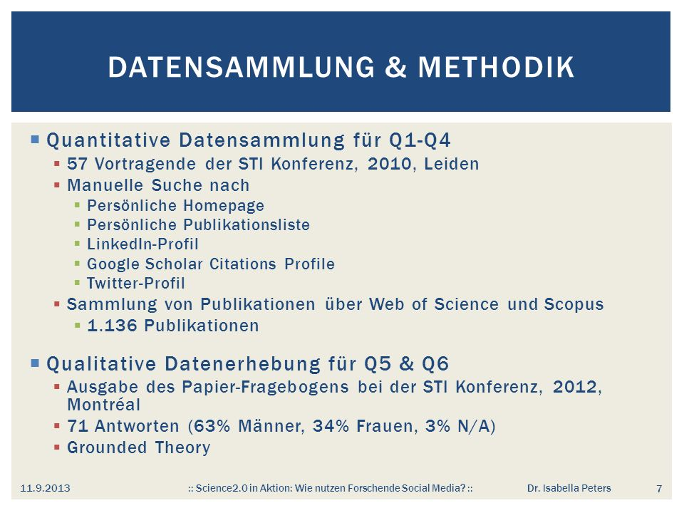 Datensammlung & Methodik