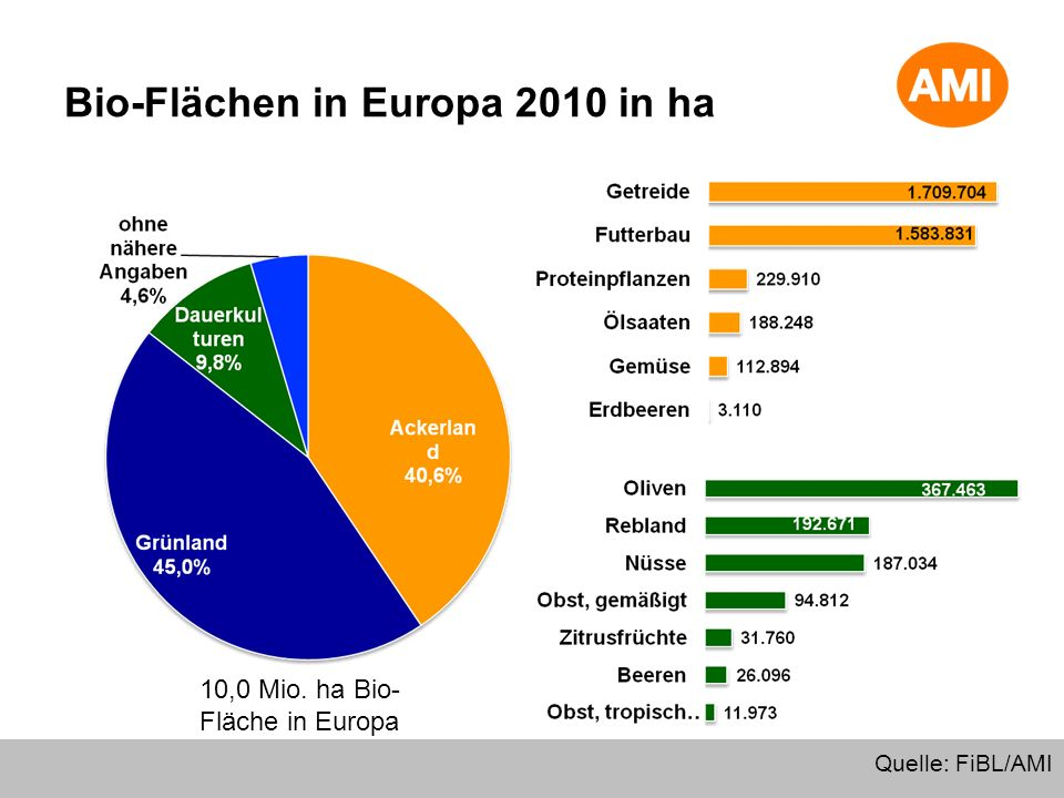Bio-Flächen in Europa 2010 in ha