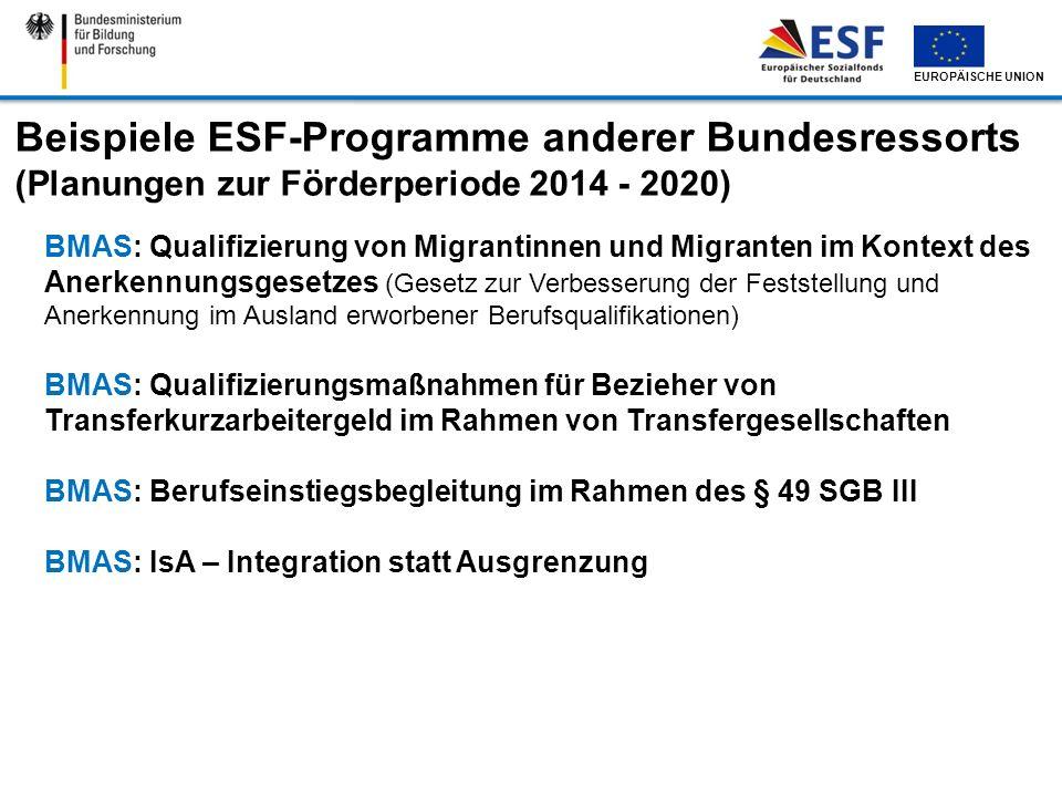 Beispiele ESF-Programme anderer Bundesressorts (Planungen zur Förderperiode 2014 - 2020)