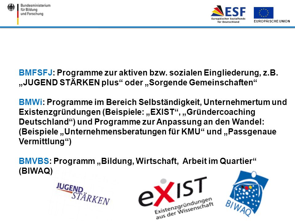 BMFSFJ: Programme zur aktiven bzw. sozialen Eingliederung, z. B