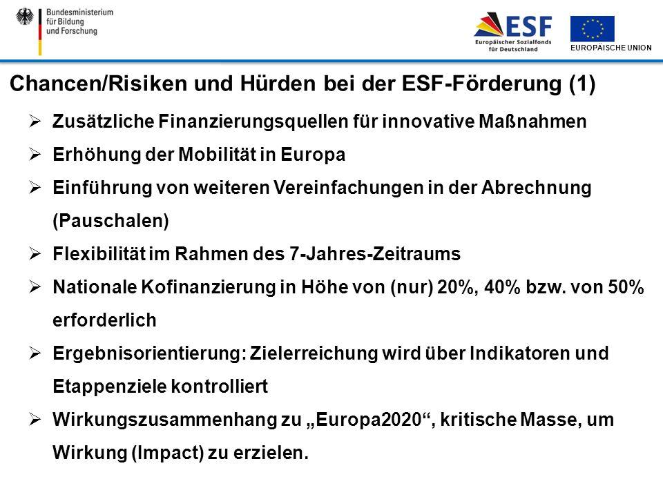 Chancen/Risiken und Hürden bei der ESF-Förderung (1)