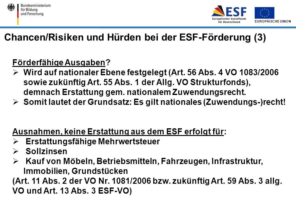 Chancen/Risiken und Hürden bei der ESF-Förderung (3)