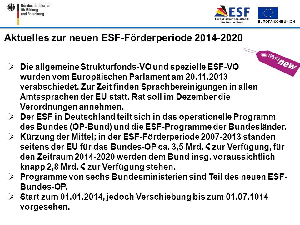 Aktuelles zur neuen ESF-Förderperiode 2014-2020