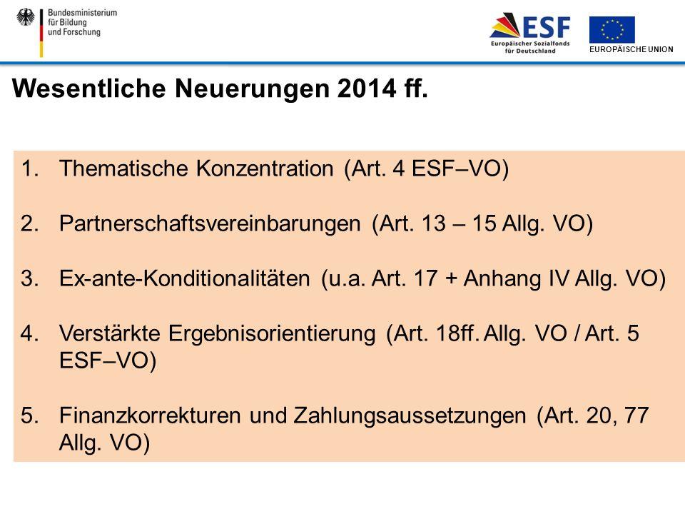 Wesentliche Neuerungen 2014 ff.