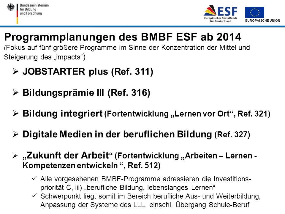 Programmplanungen des BMBF ESF ab 2014