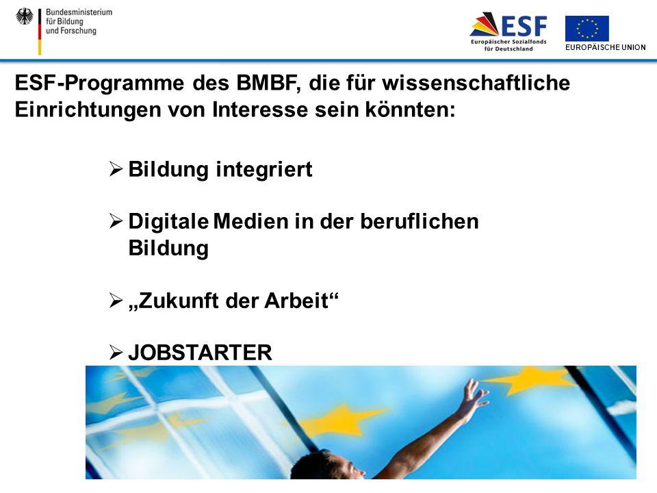 ESF-Programme des BMBF, die für wissenschaftliche Einrichtungen von Interesse sein könnten: