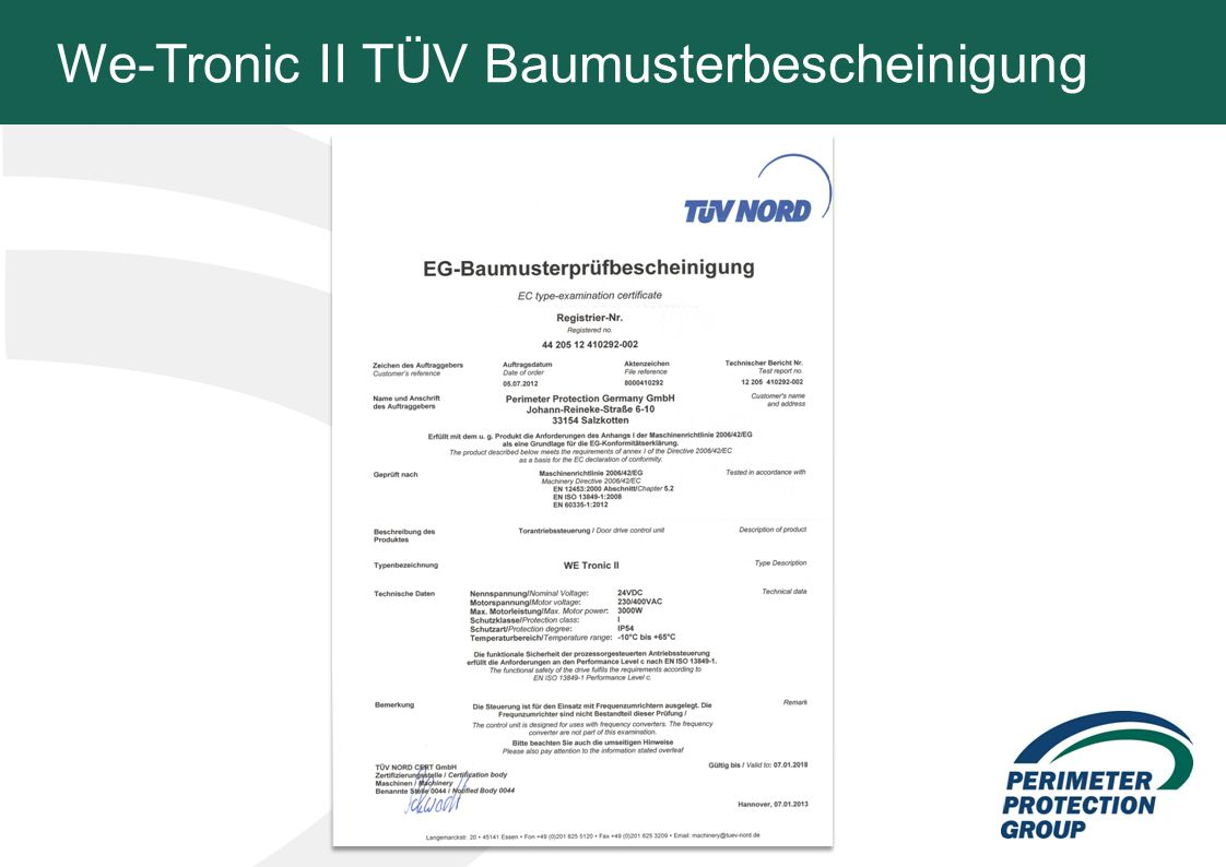 We-Tronic II TÜV Baumusterbescheinigung