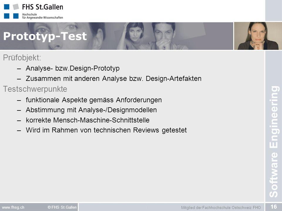 Prototyp-Test Prüfobjekt: Testschwerpunkte