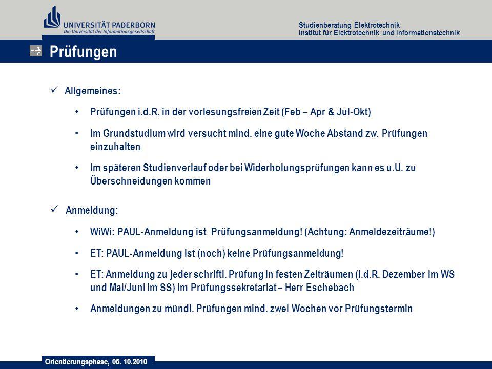 Prüfungen Allgemeines: