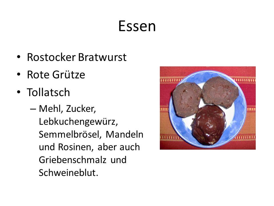 Essen Rostocker Bratwurst Rote Grütze Tollatsch