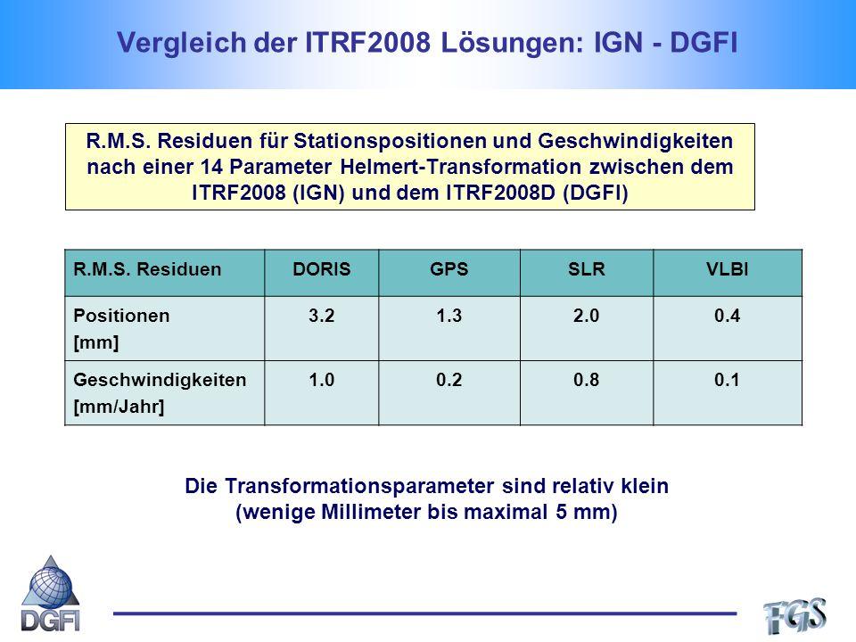 Vergleich der ITRF2008 Lösungen: IGN - DGFI