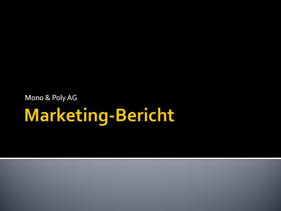 Mono & Poly AG Marketing-Bericht