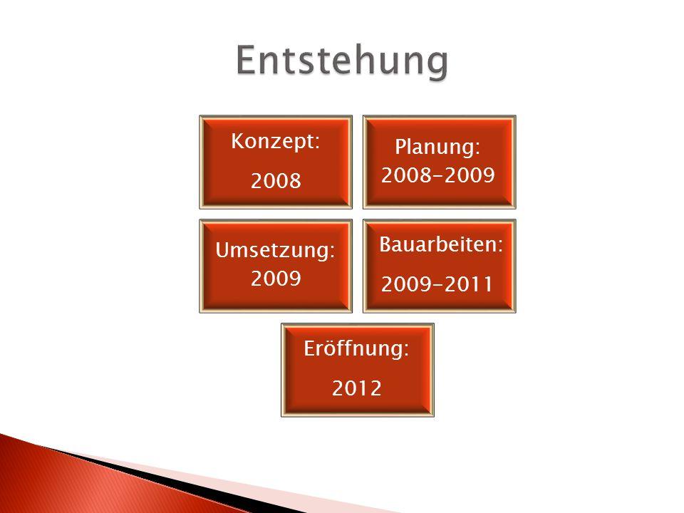 Entstehung Konzept: Planung: 2008-2009 2008 Bauarbeiten: