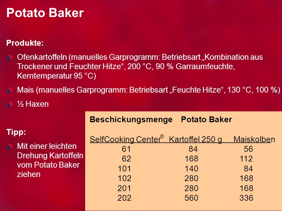 Potato Baker Beschickungsmenge Potato Baker SelfCooking Center