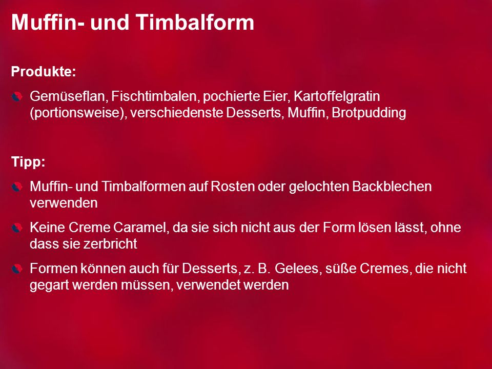 Muffin- und Timbalform