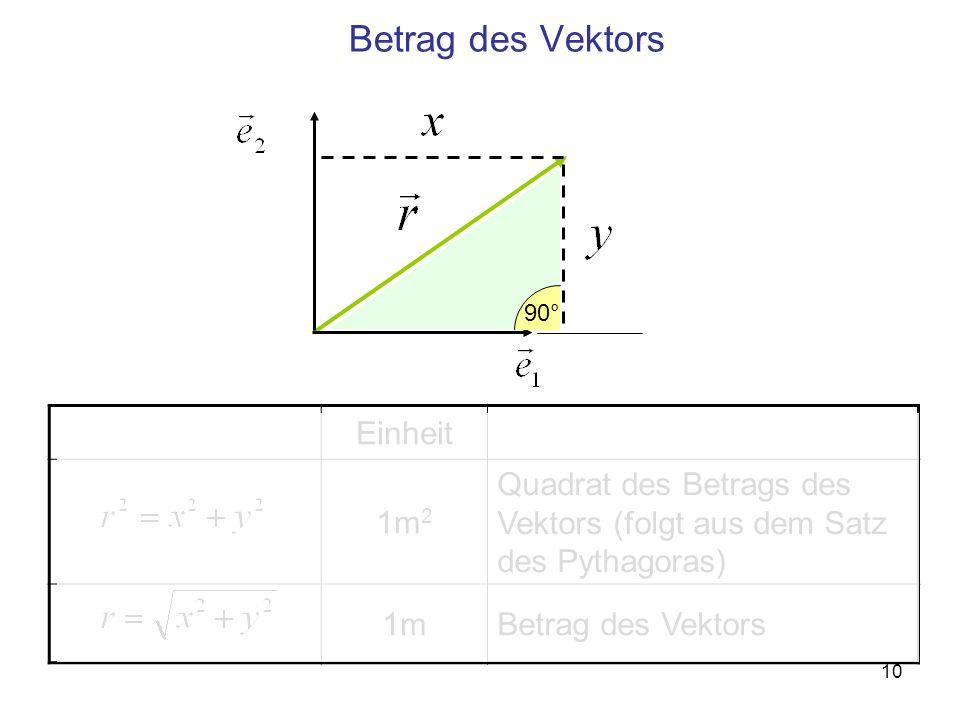 Betrag des Vektors Einheit 1m2