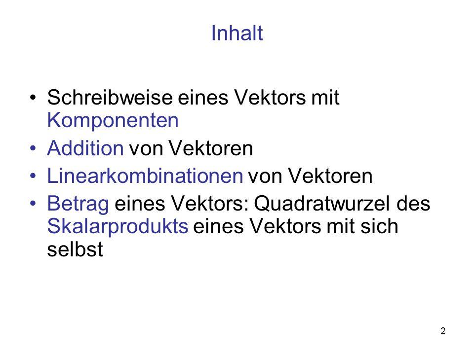 Inhalt Schreibweise eines Vektors mit Komponenten. Addition von Vektoren. Linearkombinationen von Vektoren.