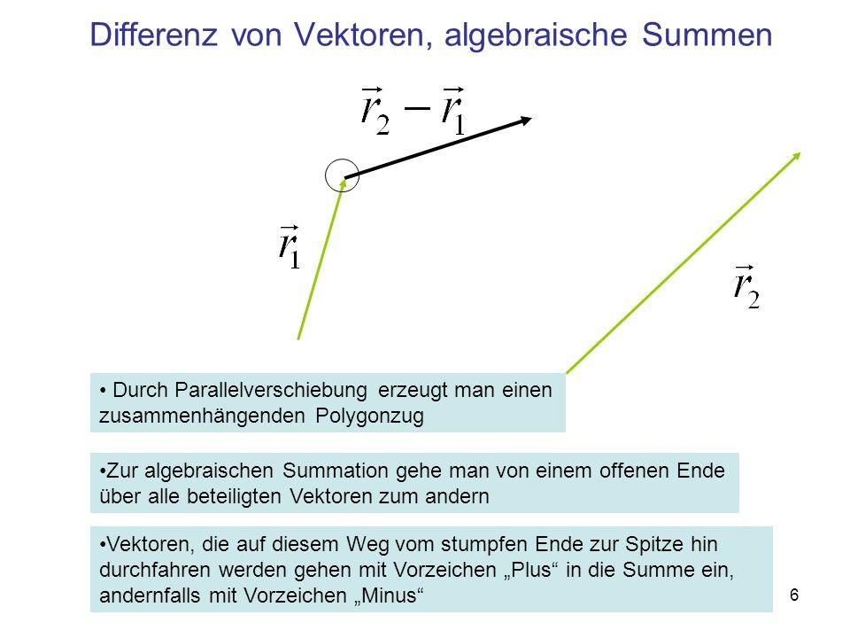 Differenz von Vektoren, algebraische Summen