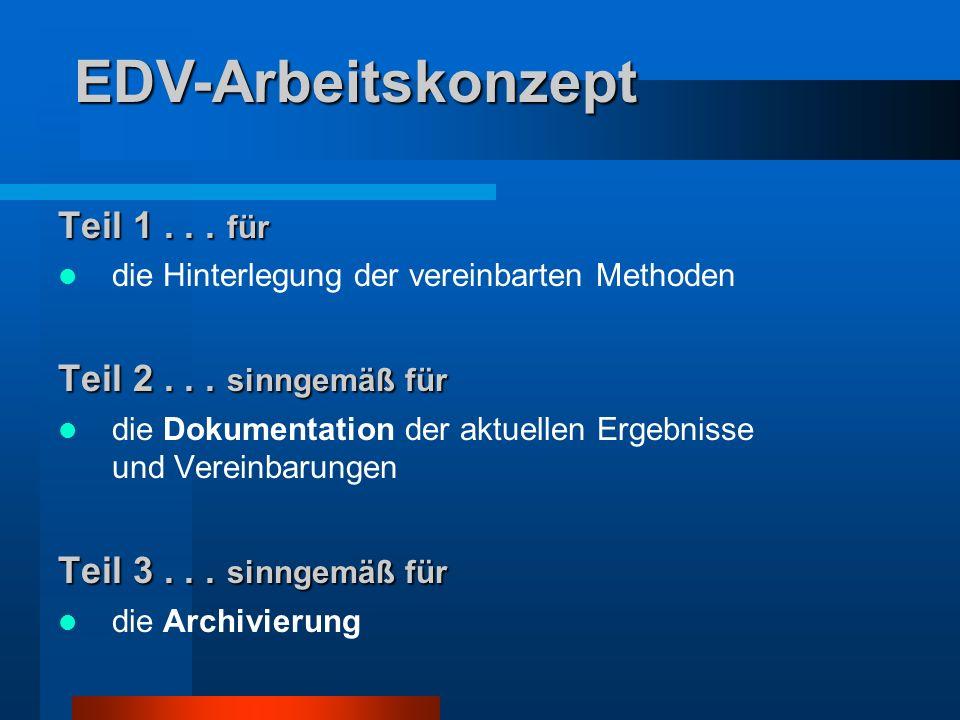 EDV-Arbeitskonzept Teil 1 . . . für Teil 2 . . . sinngemäß für