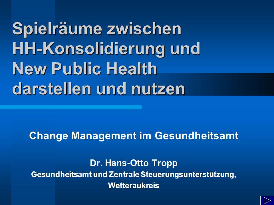 Spielräume zwischen HH-Konsolidierung und New Public Health darstellen und nutzen