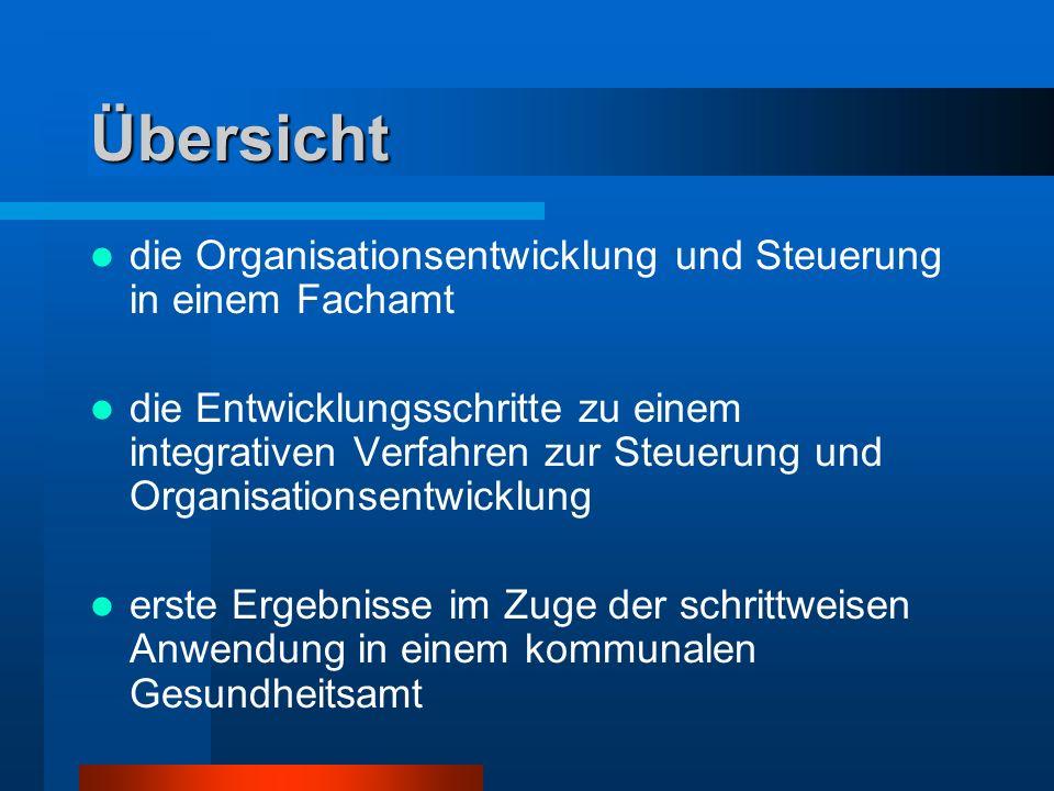 Übersicht die Organisationsentwicklung und Steuerung in einem Fachamt