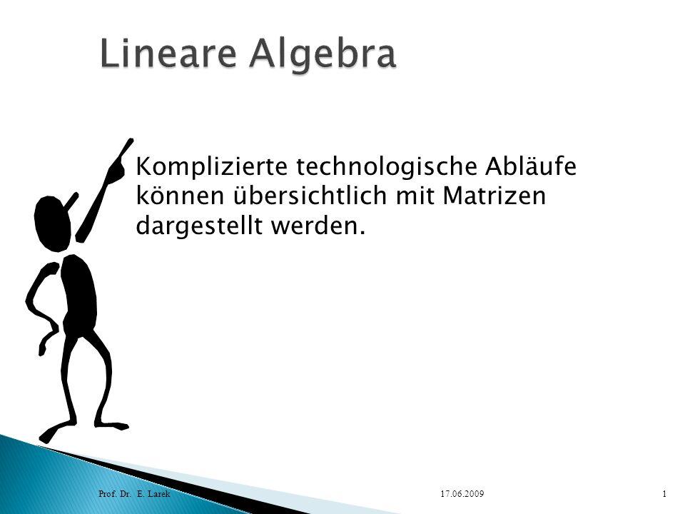 Lineare Algebra Komplizierte technologische Abläufe können übersichtlich mit Matrizen dargestellt werden.
