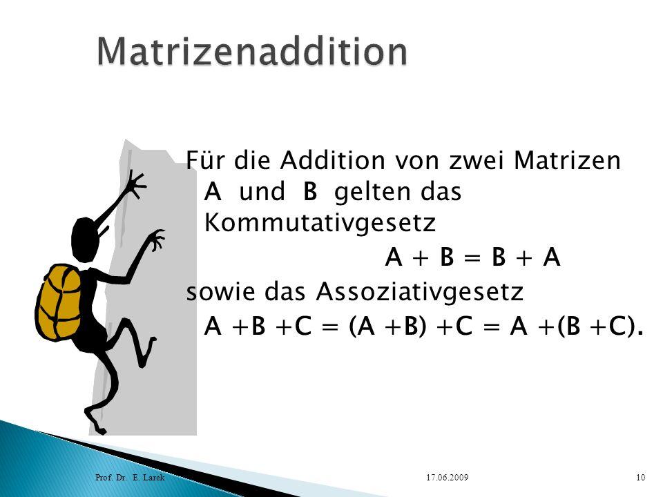 Matrizenaddition Für die Addition von zwei Matrizen A und B gelten das Kommutativgesetz. A + B = B + A.