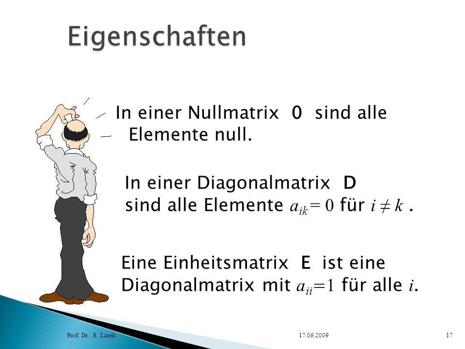 Eigenschaften In einer Nullmatrix 0 sind alle Elemente null.