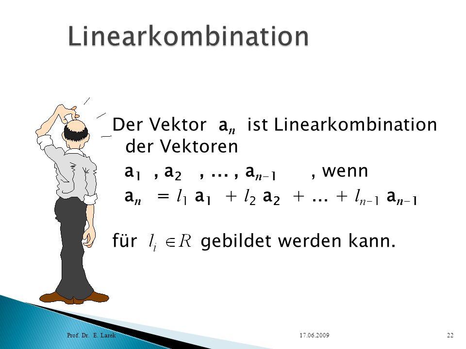 Linearkombination Der Vektor an ist Linearkombination der Vektoren