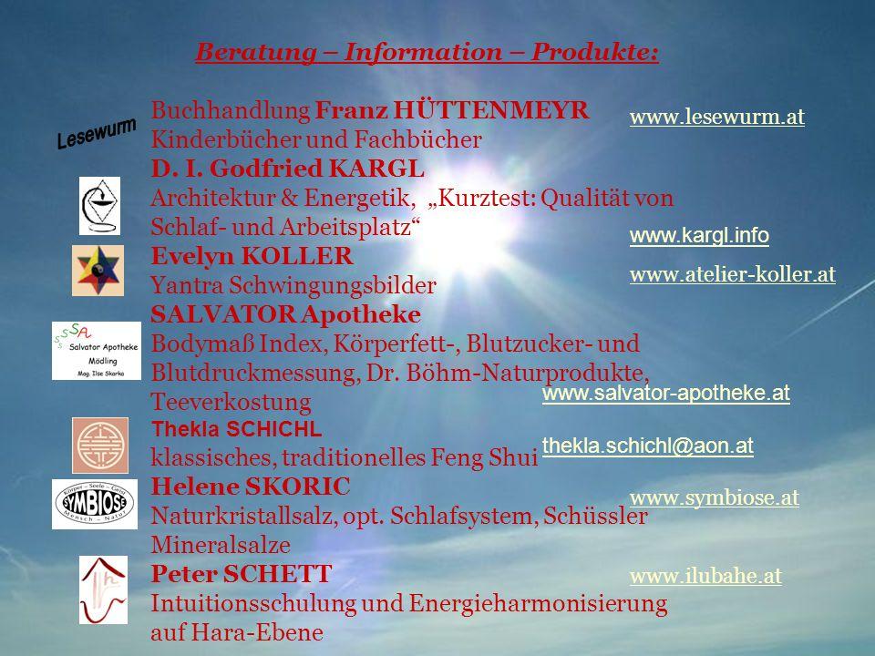 Beratung – Information – Produkte: