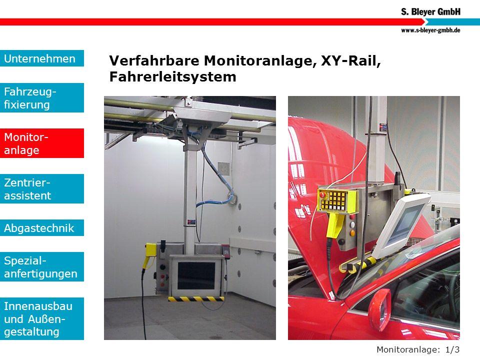 Verfahrbare Monitoranlage, XY-Rail, Fahrerleitsystem