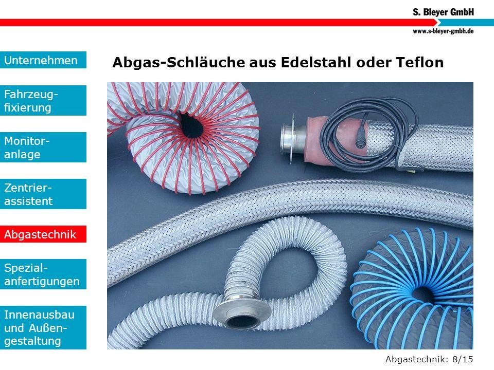 Abgas-Schläuche aus Edelstahl oder Teflon
