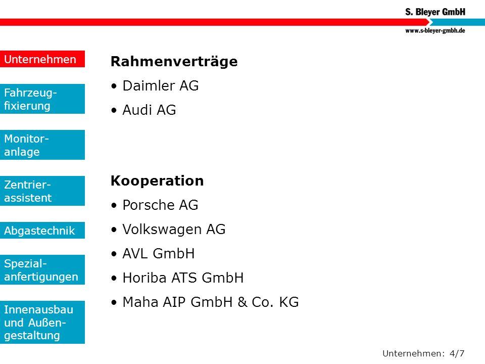 Rahmenverträge • Daimler AG • Audi AG Kooperation • Porsche AG