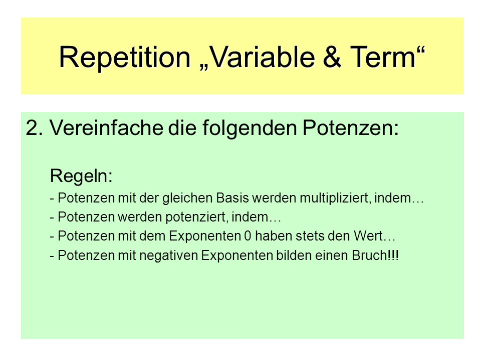 "Repetition ""Variable & Term"