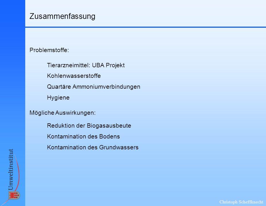 Zusammenfassung Problemstoffe: Tierarzneimittel: UBA Projekt