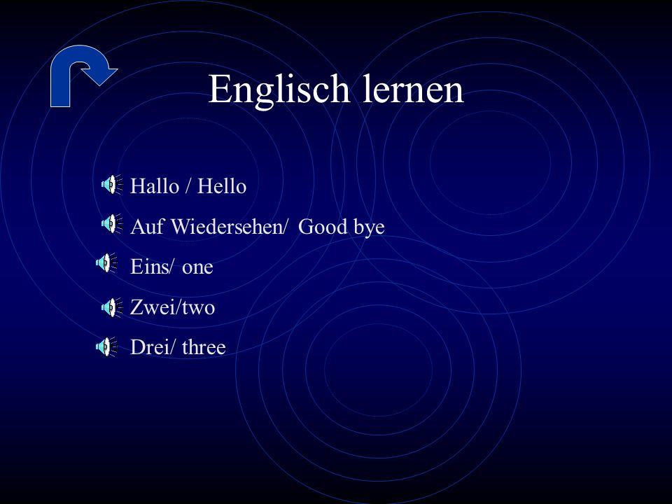 Englisch lernen Hallo / Hello Auf Wiedersehen/ Good bye Eins/ one
