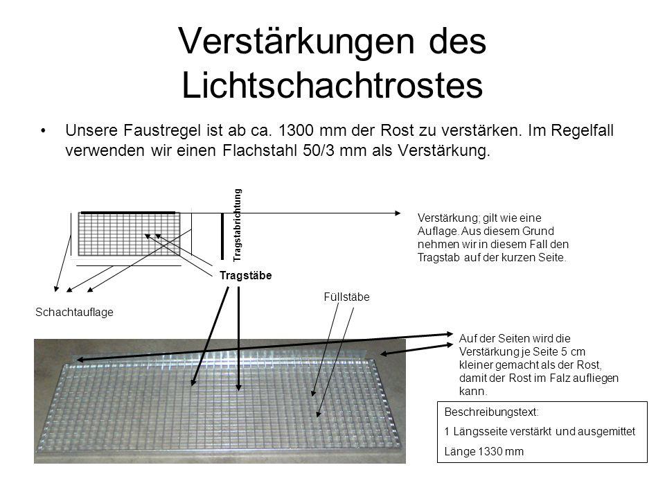 Verstärkungen des Lichtschachtrostes